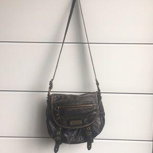 Distressed black cross body purse!